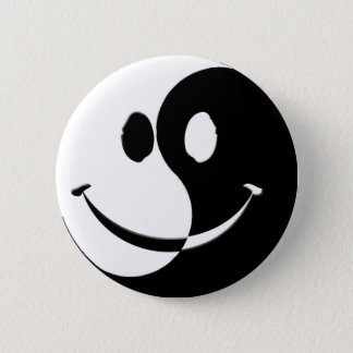 Ying / Yang Smiley 2 Inch Round Button