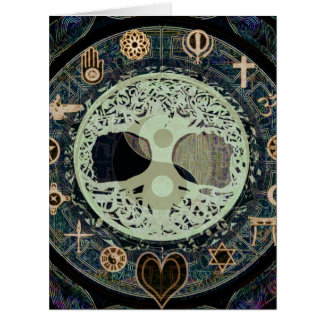 ying yang with religious symbols card