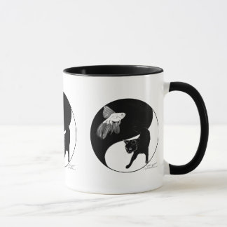 YinYang Fish and Cat - Mug with 3 images