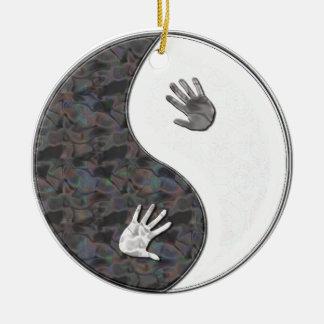 yinyang hands ceramic ornament