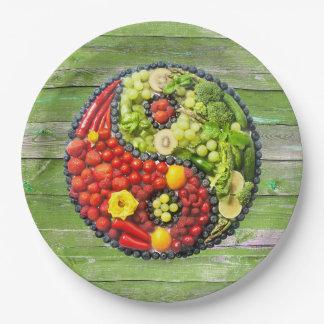 YinYang - Vegan harmony Green Wood Paper Plate