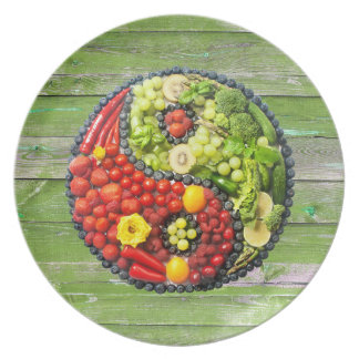 YinYang - Vegan harmony Green Wood Plate