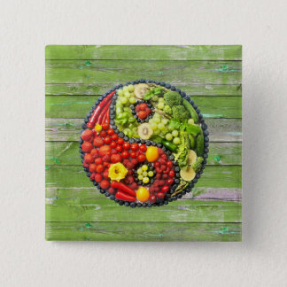 YinYang - Vegan harmony Green Wood Wall 2 Inch Square Button