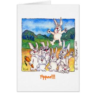 Yippee!  Cute Cartoon Rabbits Greeting Note Card
