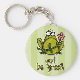 yo! be green basic round button keychain