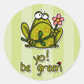 yo! be green classic round sticker