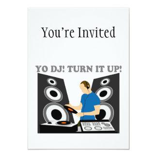 """Yo DJ, Turn It Up 5"""" X 7"""" Invitation Card"""