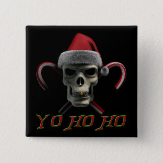 Yo Ho Ho Pirate Santa 2 Inch Square Button