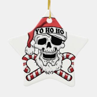 Yo ho ho - pirate santa - funny santa claus ceramic ornament