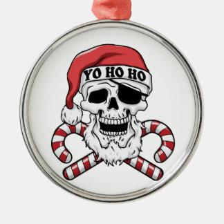 Yo ho ho - pirate santa - funny santa claus metal ornament