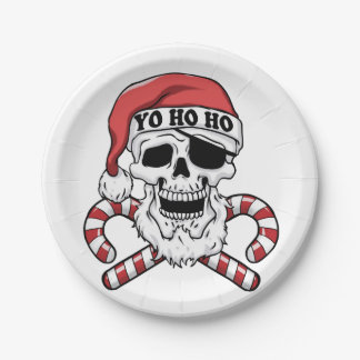 Yo ho ho - pirate santa - funny santa claus paper plate