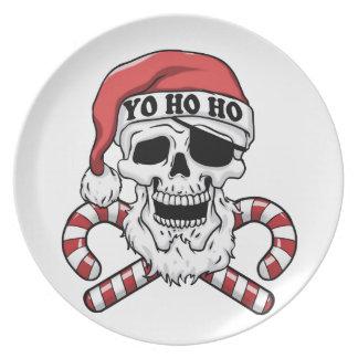 Yo ho ho - pirate santa - funny santa claus plate