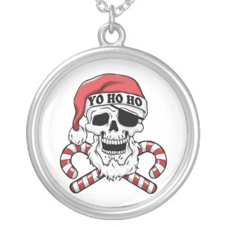 Yo ho ho - pirate santa - funny santa claus silver plated necklace
