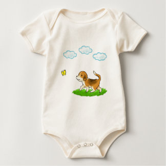 yo inside Walking Dog with Butterfly dog and chi Baby Bodysuit