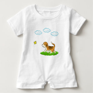yo inside Walking Dog with Butterfly dog and chi Baby Romper