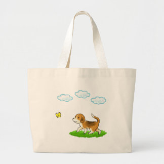 yo inside Walking Dog with Butterfly dog and chi Large Tote Bag