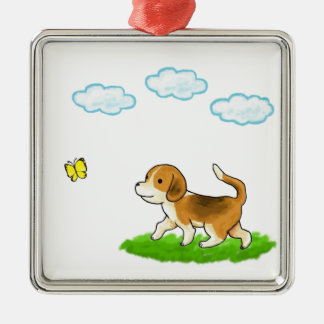 yo inside Walking Dog with Butterfly dog and chi Metal Ornament