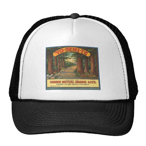 YO-SEMI-TE Vintage Fruit Crate Label Trucker Hats