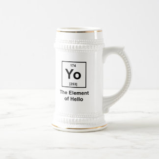Yo! The Element of Hello 18 Oz Beer Stein