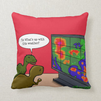 Yo! What's Up With This Weather Dinosaur Cartoon Throw Pillow