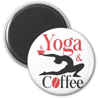 Yoga And Coffee 2 Inch Round Magnet