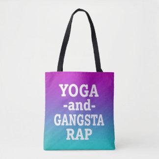Yoga and Gangsta Rap funny tote bag