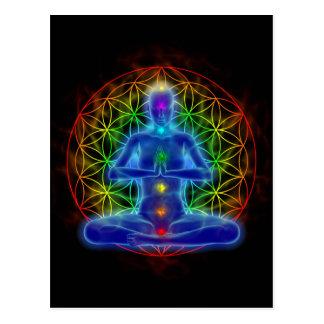 Yoga and meditation - flower of life postcard