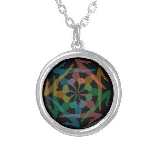 Yoga art round pendant necklace