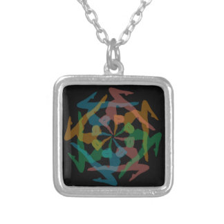 Yoga art square pendant necklace