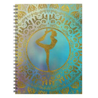 Yoga Asana Symbol in Gold Mandala Notebook