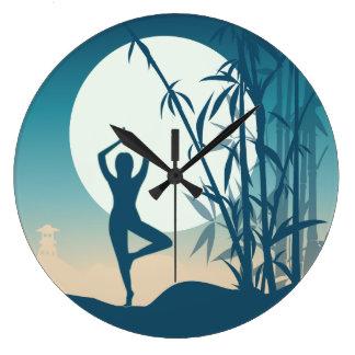 Yoga at Dawn Large Clock