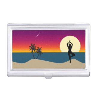 Yoga at Sunset Business Card Holder