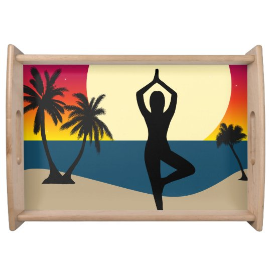 Yoga at Sunset Serving Tray