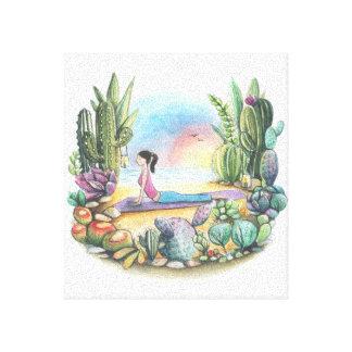 Yoga at the beach canvas print