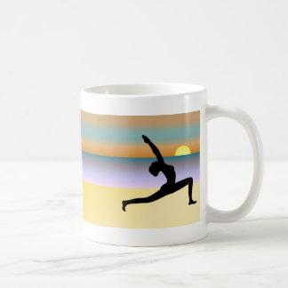 Yoga At The Beach Pose Silhouette Tea Coffee Mugs