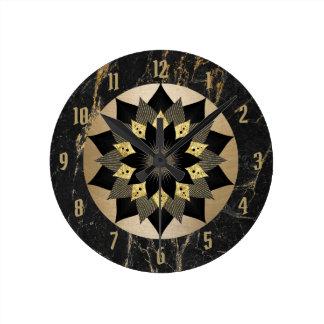 Yoga Black & Gold Lotus Flower Mandala Marble Round Clock