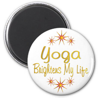 Yoga Brightens My Life 2 Inch Round Magnet