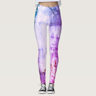 Yoga Buddha Meditation Scroll Legging Pink Purple