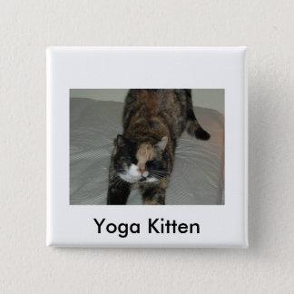 Yoga Calico Kitty Cat 2 Inch Square Button