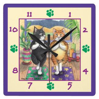 Yoga Cats Square Wall Clock