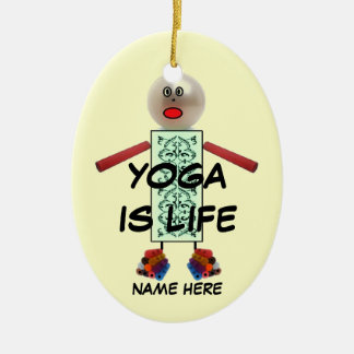 Yoga Christmas Cartoon Ceramic Ornament