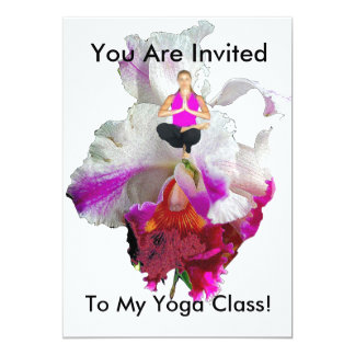 YOGA CLASS INVITATION- YOGA POSTURE ON ORCHID CARD