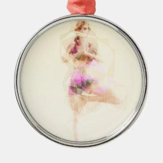 Yoga Concept Illustration Abstract as a Concept Silver-Colored Round Ornament