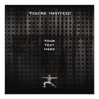 """Yoga; Cool Black 5.25"""" Square Invitation Card"""