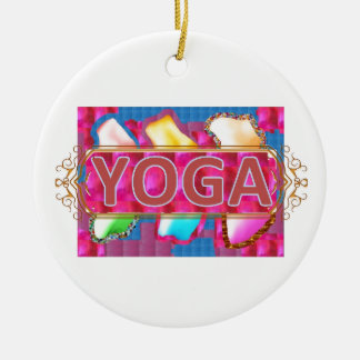 YOGA Enchanting Energy Print Round Ceramic Ornament