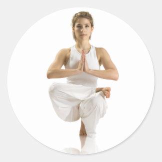 Yoga Exercise Classic Round Sticker