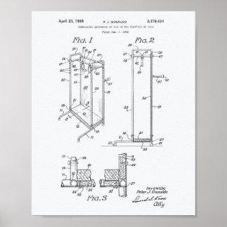 Yoga Exercising 1968 Patent Art White Paper Poster