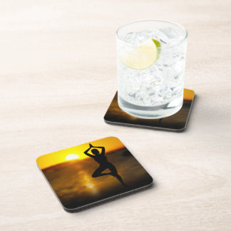 Yoga Female by the Ocean at Sunset Drink Coasters