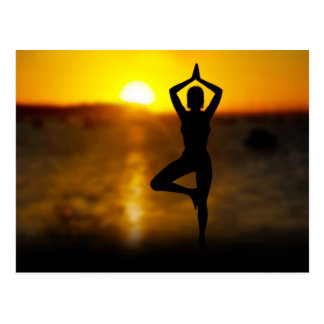 Yoga Female by the Ocean at Sunset Postcard