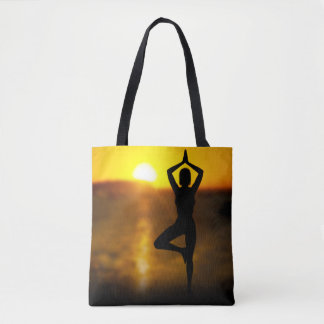 Yoga Female by the Ocean at Sunset Tote Bag